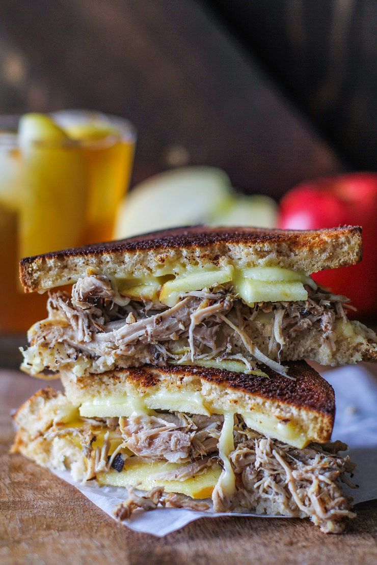 Pulled Pork, Apple, and Gouda Grilled Cheese | TheRoastedRoot.net #sandwich #cheese #glutenfree #pork