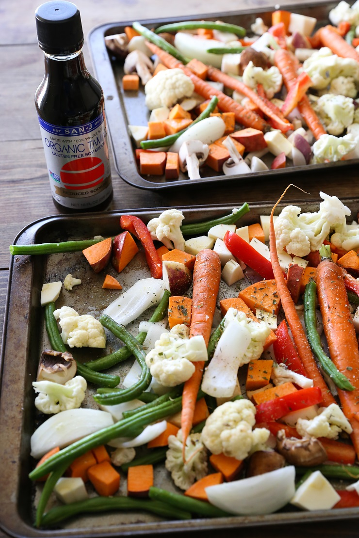 Roasted Vegetables with Asian Garlic-Ginger Glaze | TheRoastedRoot.net #healthy #vegetarian #recipe #vegan