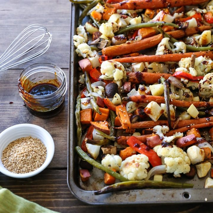 Roasted Vegetables with Asian Honey Ginger Glaze | TheRoastedRoot.net #healthy #vegetarian #recipe