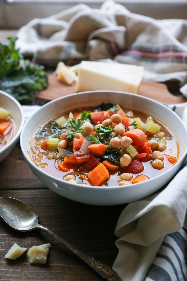 Rustic Minestrone Soup with Kale | TheRoastedRoot.net #healthy #vegetarian #soup #recipe #dinner