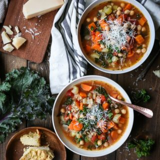 Rustic Minestrone Soup with Rice and Kale