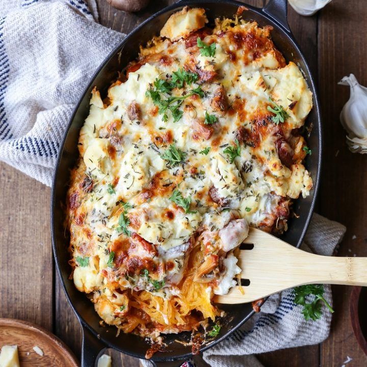 Three Cheese Mushroom Bolognese Spaghetti Squash Casserole - a comforting vegetarian meal | TheRoastedRoot.net #glutenfree #recipe #dinner