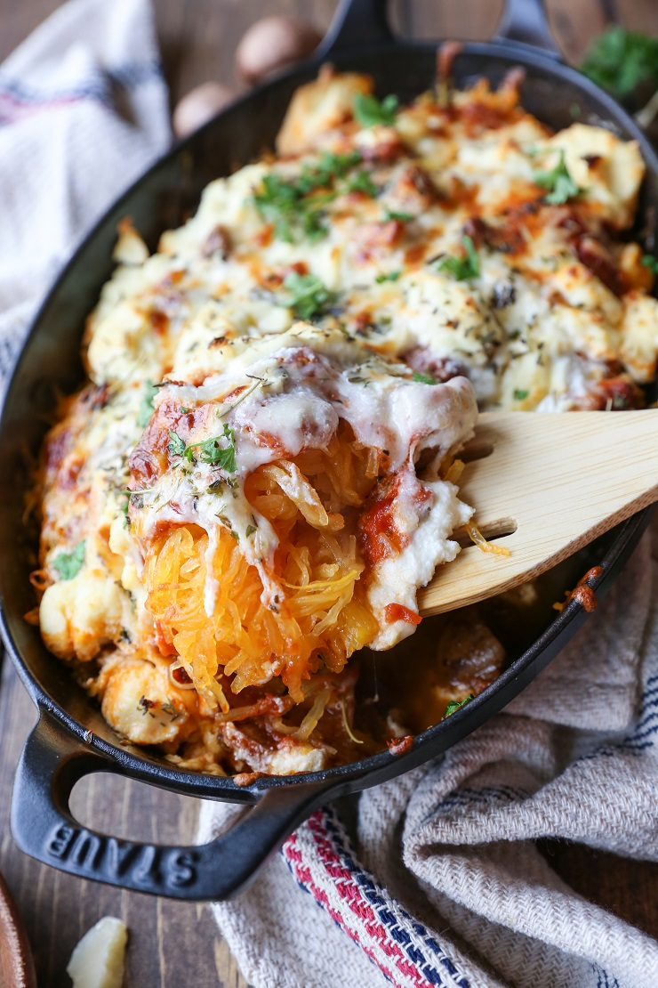 Mushroom Bolognese Spaghetti Squash Casserole - a comforting vegetarian meal | TheRoastedRoot.net #glutenfree #recipe #dinner