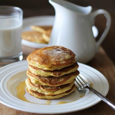 Basic Fluffy Coconut Flour Pancakes - gluten free, grain free, dairy free, and paleo | TheRoastedRoot.net #healthy #breakfast #recipe