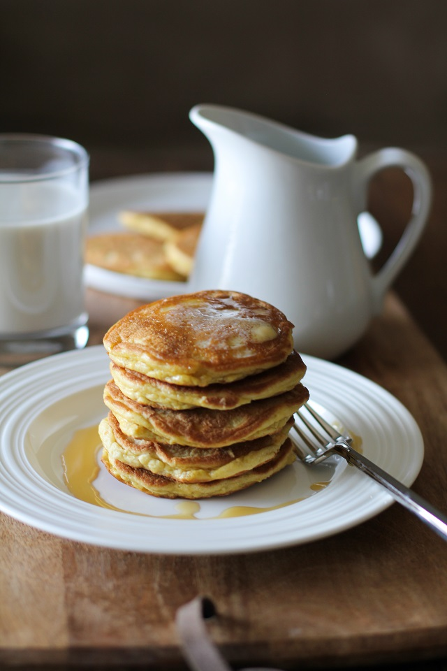 Basic Fluffy Coconut Flour Pancakes - gluten free, grain free, dairy free, and paleo | TheRoastedRoot.net #healthy #breakfast #recipe