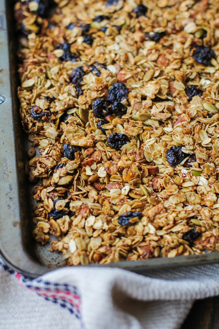 Cherry Maple Almond Granola - a healthful heart-healthy gluten-free and vegan breakfast | TheRoastedRoot.net #recipe #healthy #glutenfree
