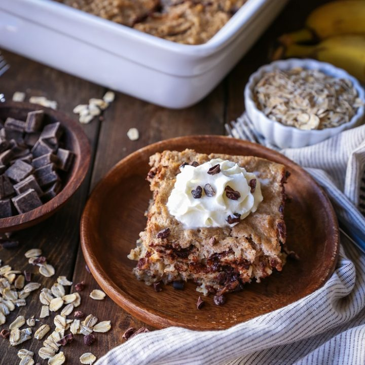 Chocolate Chip Banana Bread Baked Oatmeal | TheRoastedRoot.net #healthy #glutenfree #breakfast #recipe
