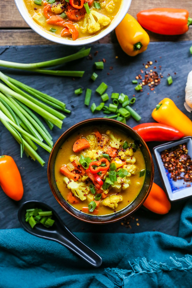 Coconut Curry Vegetable Soup - Thai soup with curry and vegetables is an easy clean meal - paleo, whole30, low-carb, gluten-free, dairy-free