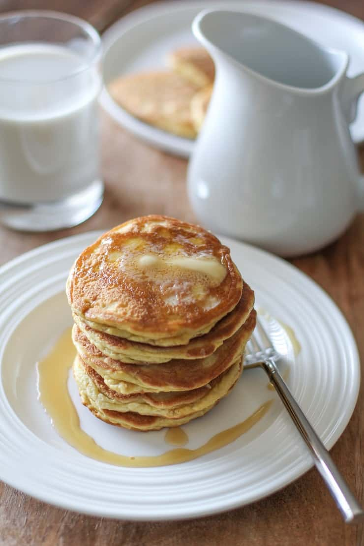Basic Fluffy Coconut Flour Pancakes - grain-free, dairy-free, and paleo