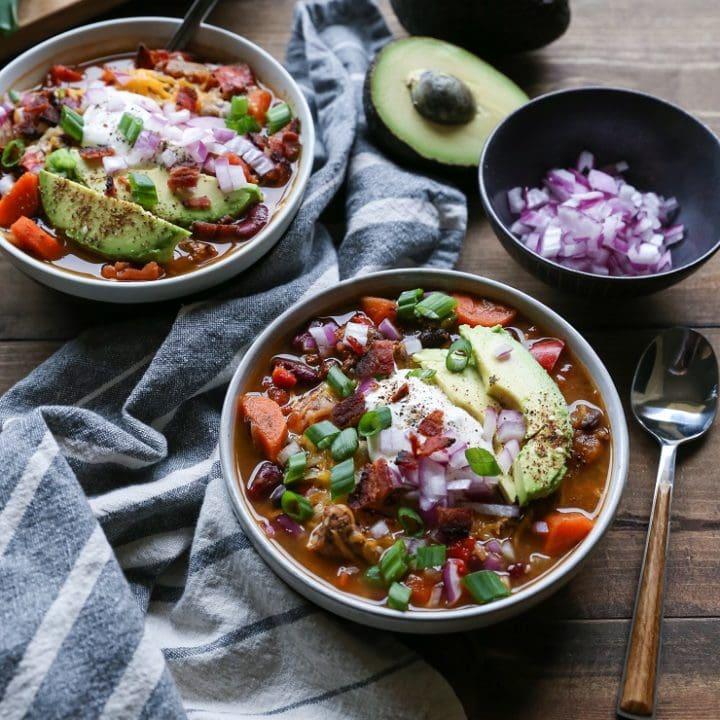 Loaded Turkey Chili | TheRoastedRoot.net #healthy #glutenfree #slowcooker