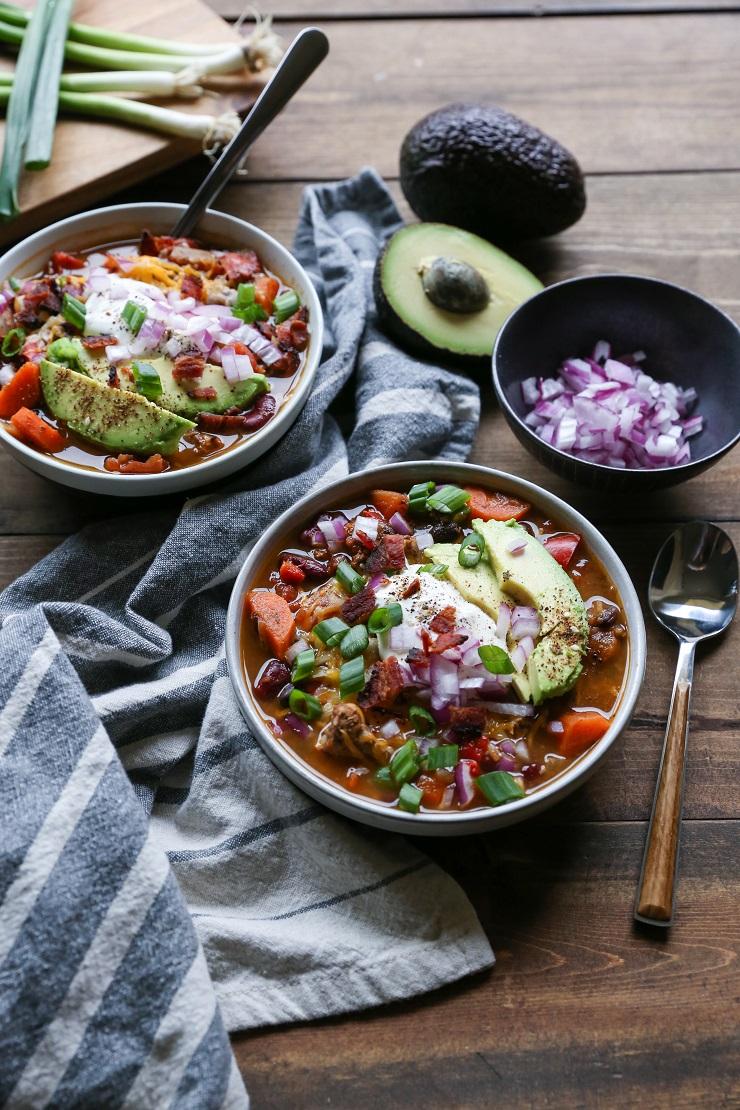 Loaded Turkey Chili | TheRoastedRoot.net #healthy #glutenfree #slowcooker