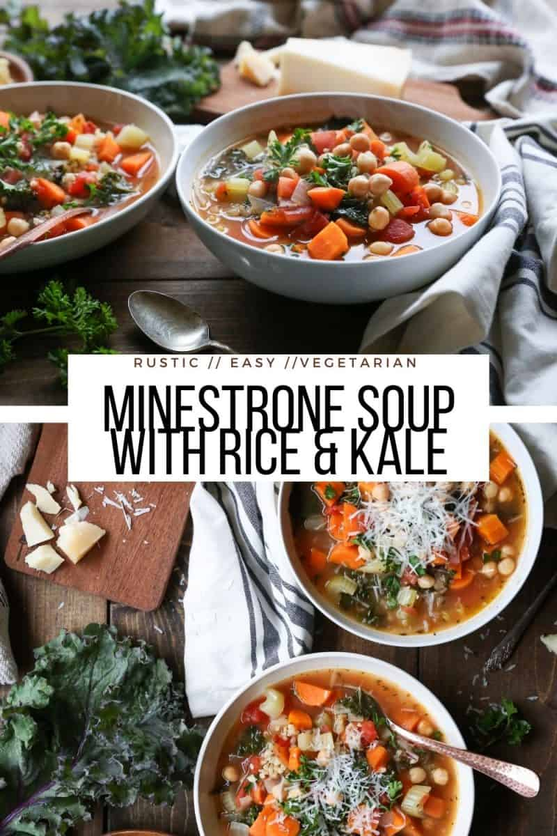 Easy Minestrone Soup with Rice and Kale - a healthy rustic soup recipe perfect for cold weather!