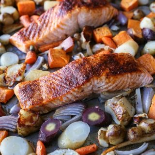 Salmon and Root Vegetable Sheet Pan Dinner