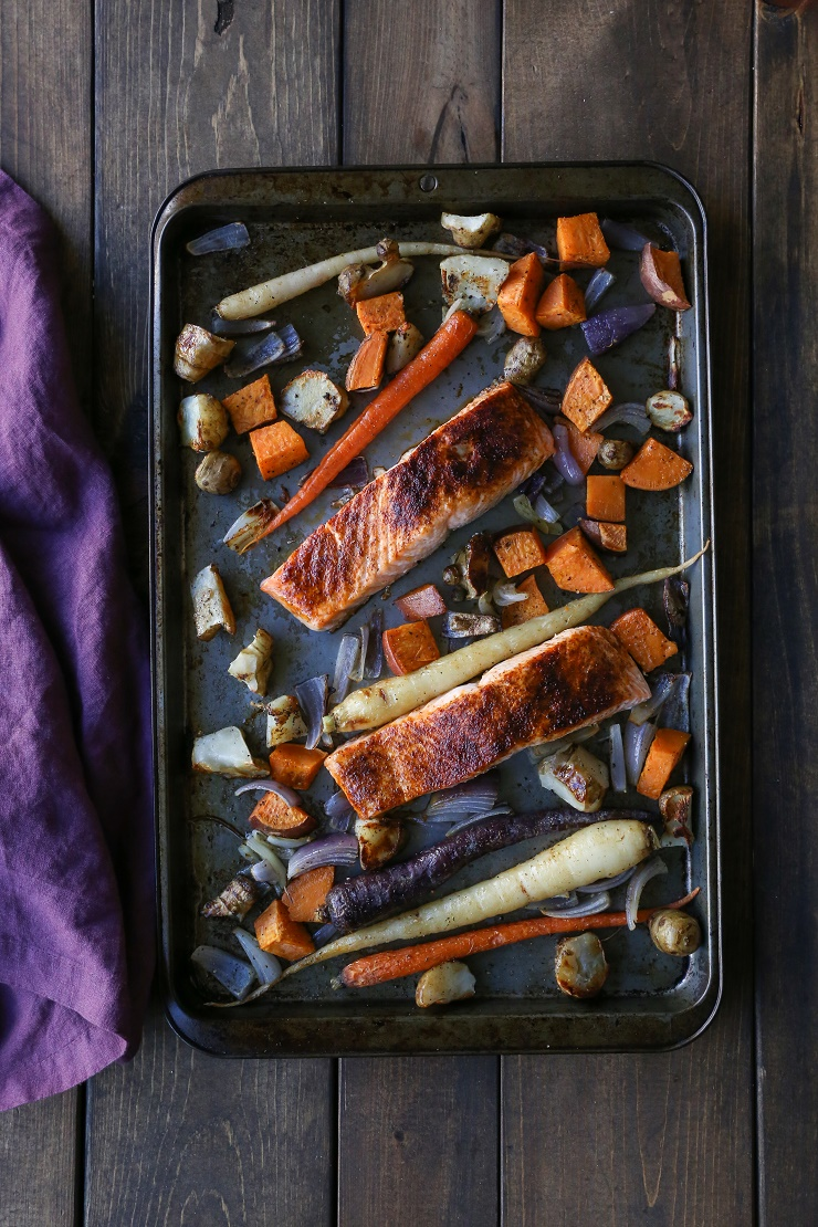 Salmon and Roasted Root Vegetable Sheet Pan Dinner | TheRoastedRoot.net #healthy #recipe #paleo #whole30