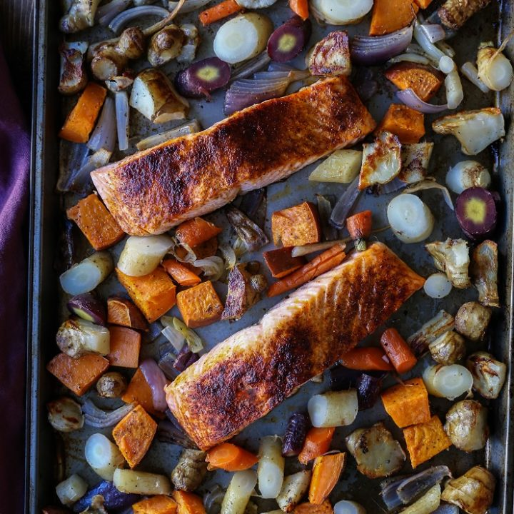 Salmon and Roasted Root Vegetable Sheet Pan Dinner