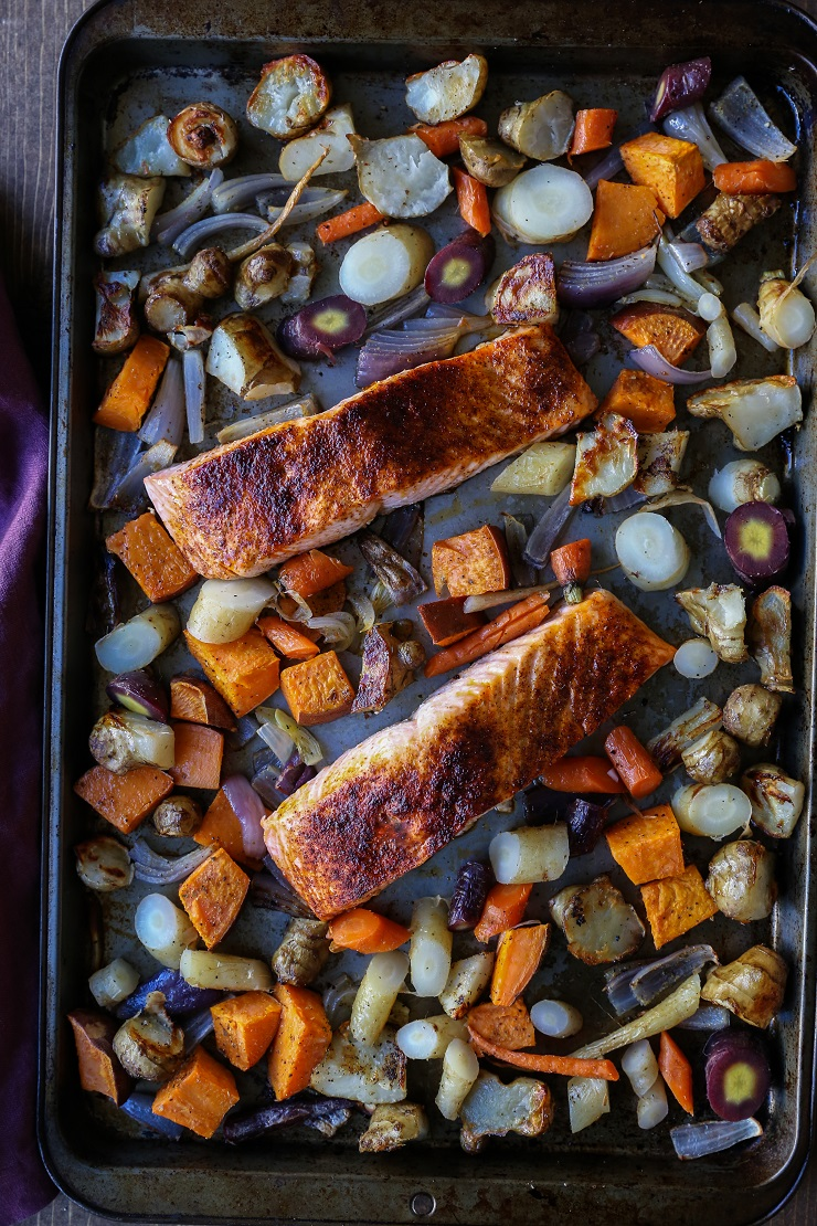 Salmon and Roasted Root Vegetable Sheet Pan Dinner   TheRoastedRoot.net #healthy #recipe #paleo #whole30