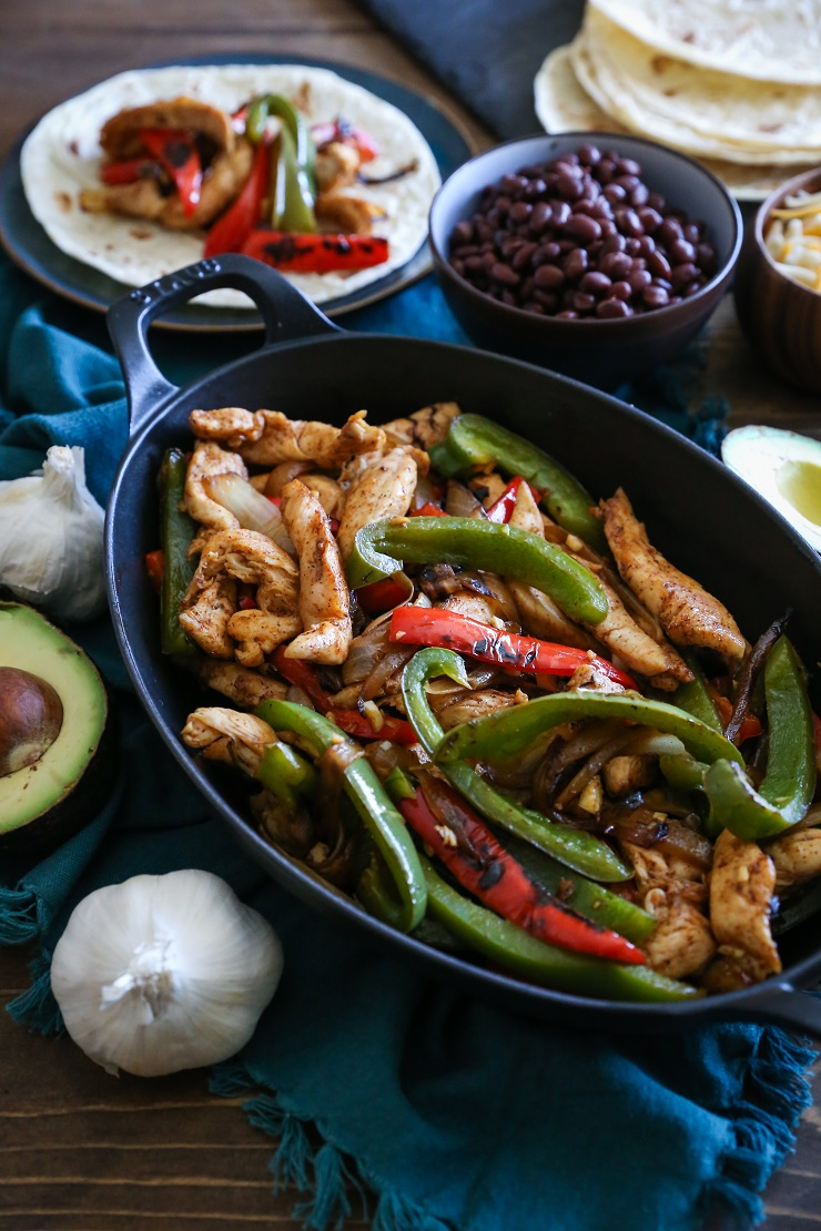 30-Minute Chicken Fajitas - a low-fuss healthful meal | TheRoastedRoot.net #dinner #recipe #paleo