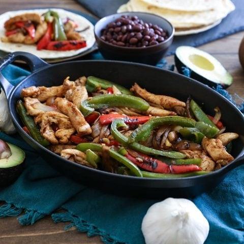 30-Minute Chicken Fajitas - a low-fuss healthful meal   TheRoastedRoot.net #dinner #recipe #paleo