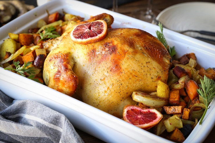 Orange Ginger Turmeric Whole Roast Chicken with Root Vegetables | TheRoastedRoot.net #healthy #recipe #dinner #paleo