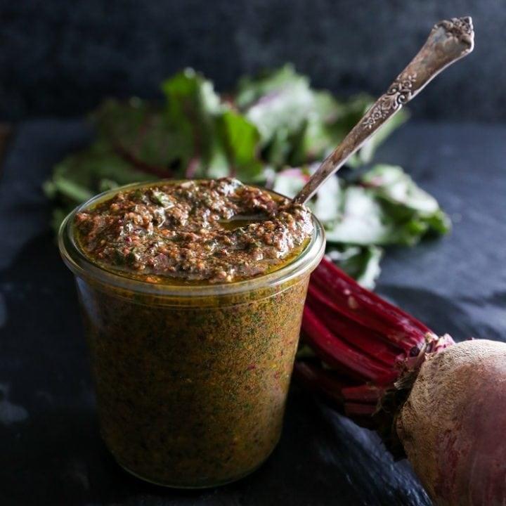 Beet Green Pesto - a superfood vegan sauce   TheRoastedRoot.net #healthy #recipe #vegan