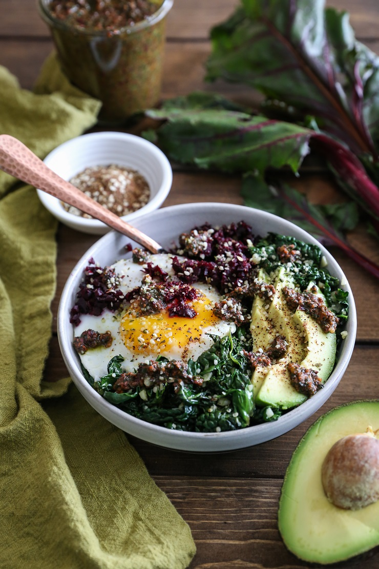 Beet Rice and Garlicky Kale Bowls with Beet Green Pesto - an easy-to-make clean, superfood dinner recipe   TheRoastedRoot.net #vegetarian #vegan #paleo #glutenfree