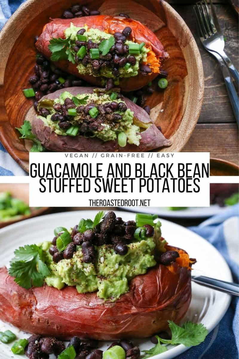 Guacamole and Black Bean Loaded Sweet Potatoes are a healthy vegan dinner recipe or side dish - vegetarian, grain-free, dairy-free, whole food, delicious