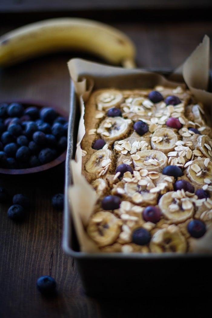 Blueberry Oatmeal Blender Banana Bread (Flourless) | TheRoastedRoot.net #glutenfree #healthy #recipe