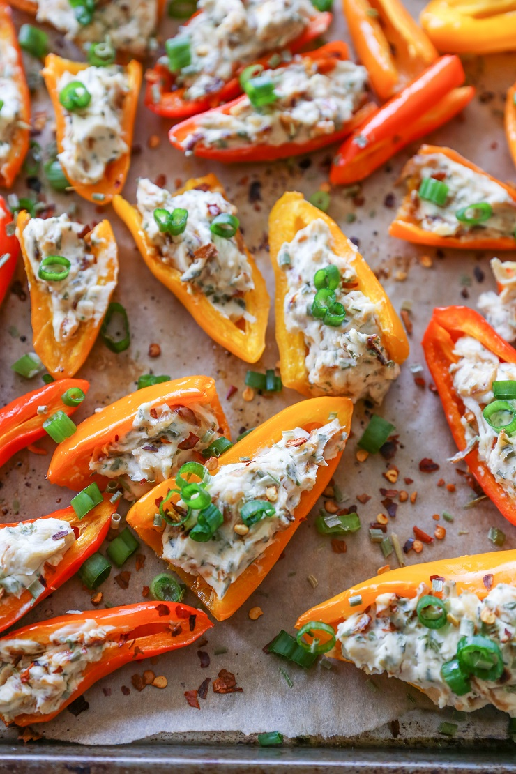 Caramelized Onion and Cream Cheese Stuffed Peppers | TheRoastedRoot.net #appetizer #recipe #glutenfree
