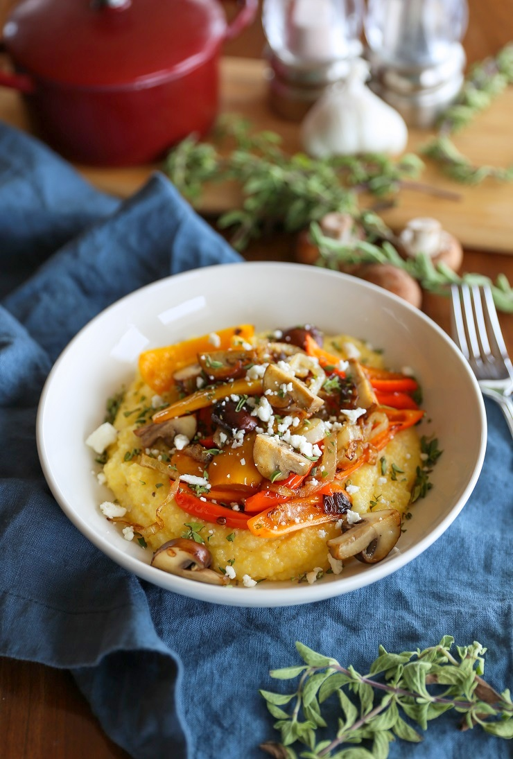 Creamy Polenta with Caramelized Onions, Peppers, and Mushrooms | TheRoastedRoot.net #vegetarian #glutenfree #dinner