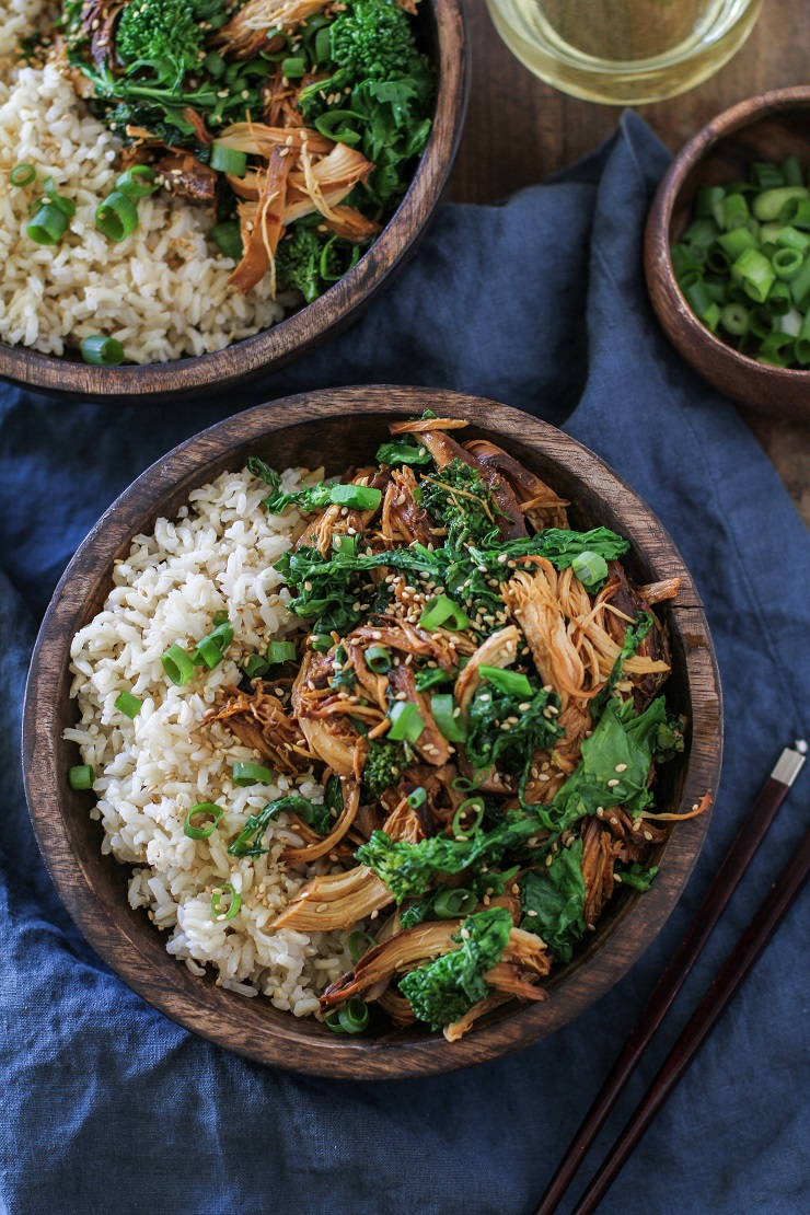 Crock Pot Teriyaki Chicken with Broccoli Rabe | TheRoastedRoot.net #healthy #dinner #recipe #glutenfree #paleo #ad