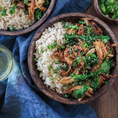 Crock Pot Teriyaki Chicken with Broccoli Rabe | TheRoastedRoot.net #healthy #dinner #recipe #glutenfree #paleo #ad