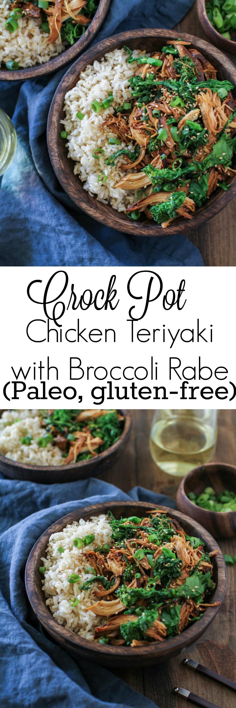 Crock Pot Teriyaki Chicken with Broccoli Rabe | TheRoastedRoot.net #healthy #dinner #recipe #glutenfree #paleo