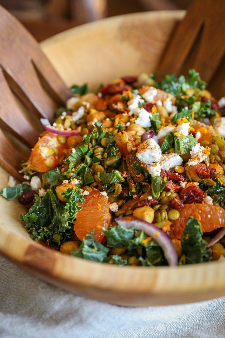 Curried Lentil, Chickpea, and Kale Salad with Citrus Dressing | TheRoastedRoot.net #healthy #recipe #vegetarian #glutenfree