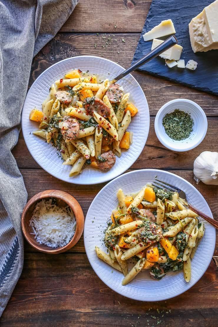 One Pot Butternut Squash and Sausage Pasta   TheRoastedRoot.net #recipe #dinner #glutenfree