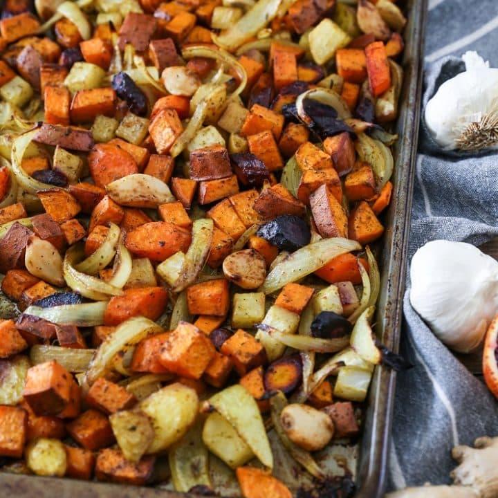 Orange Ginger Turmeric Roasted Root Vegetables | TheRoastedRoot.net #healthy #glutenfree #vegetarian #paleo