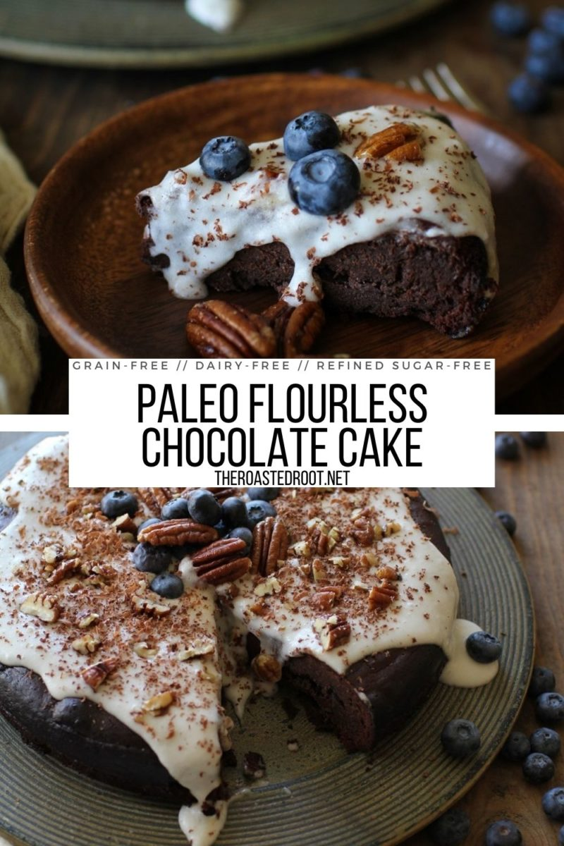 7-Ingredient Paleo Flourless Chocolate Cake - dairy-free, grain-free, refined sugar-free, super rich and decadent!
