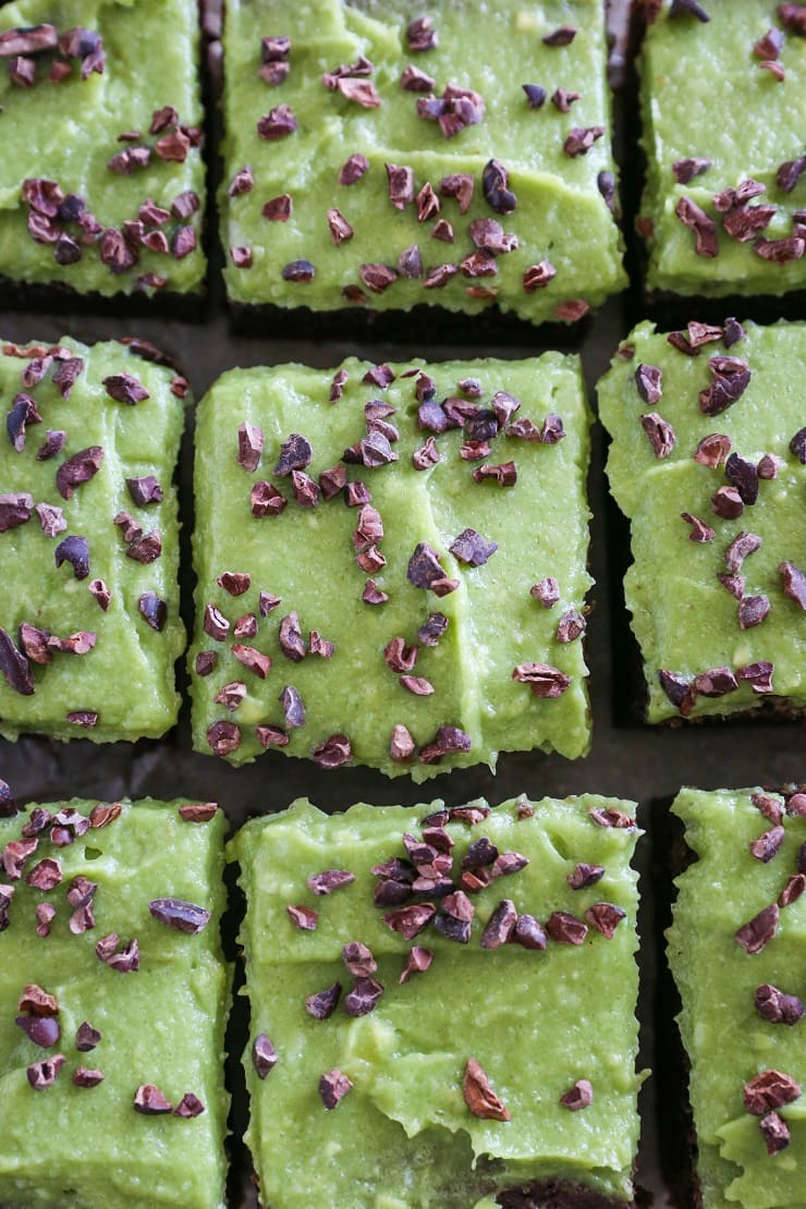 Cassava Flour Mint Brownies - grain-free, refined sugar-free, dairy-free | TheRoastedRoot.net #dessert #recipe #stpatricksday