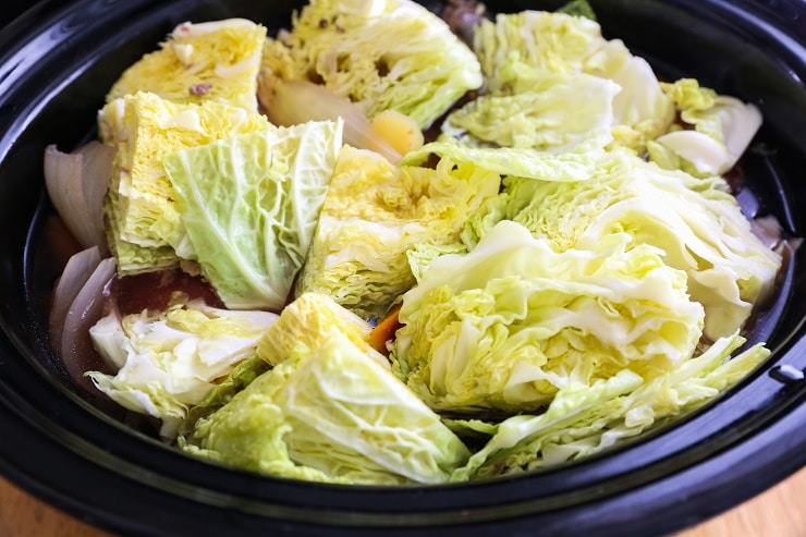 Crock Pot Corned Beef and Cabbage | TheRoastedRoot.net #recipe #dinner #stpatricksday