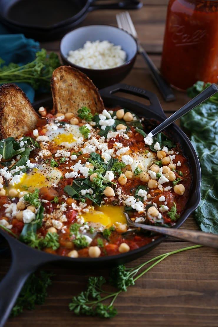 Eggplant, Chickpea, and Chard Shakshuka - a well-balanced vegetarian meal | TheRoastedRoot.net #breakfast #dinner #glutenfree #30minutemeals