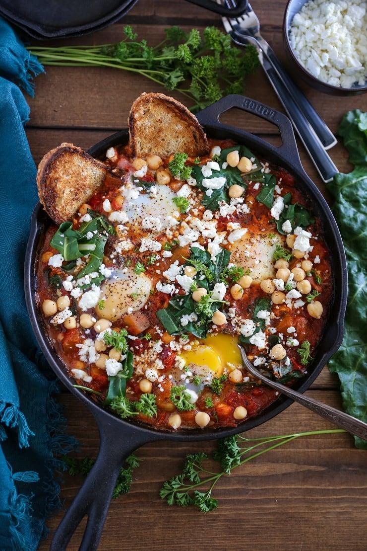 Eggplant, Chickpea, and Chard Shakshuka - a well-balanced vegetarian meal   TheRoastedRoot.net #breakfast #dinner #glutenfree #30minutemeals