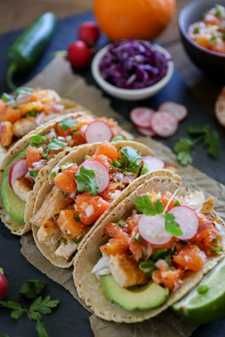 Fish Tacos with Orange Salsa | TheRoastedRoot.net #healthy #recipe #dinner #seafood #halibut
