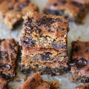 Peanut Butter Chocolate Chip Chickpea Bars - gluten-free, refined sugar-free, dairy-free, and packed with protein and fiber! | TheRoastedRoot.net #glutenfree #healthy #dessert #recipe
