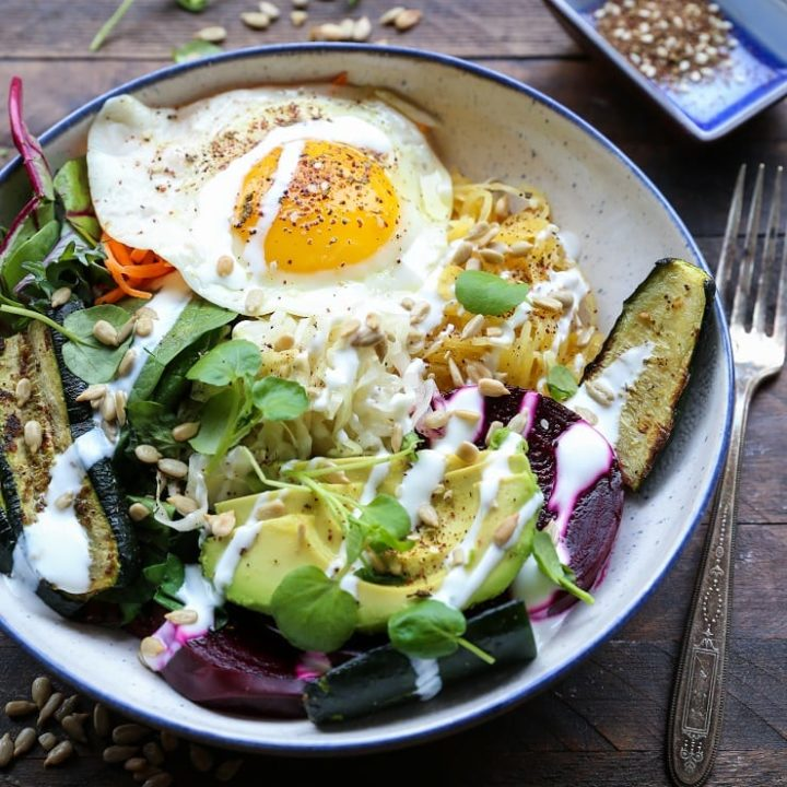 Prebiotic and Probiotic Macro Bowls - spaghetti squash, beets, greens, avocado, roasted vegetables, sauerkraut, and kefir makes for a healthy well-balanced meal. | TheRoastedRoot.net #healthy #dinner #recipe #glutenfree