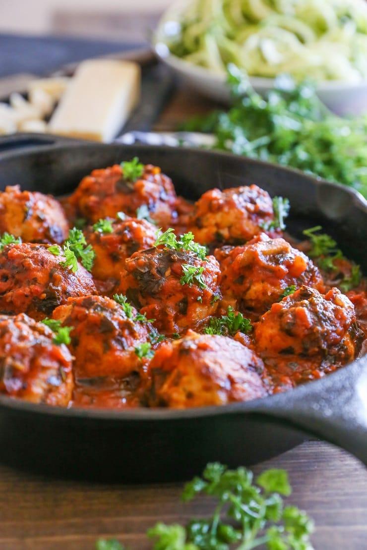 Quick and Easy Gluten-Free Turkey Meatballs   TheRoastedRoot.net #healthy #dinner #recipe