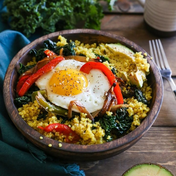 Savory Quinoa Breakfast Bowls with Peppers and Kale | TheRoastedRoot.net #healthy #breakfast #paleo #glutenfree #recipe
