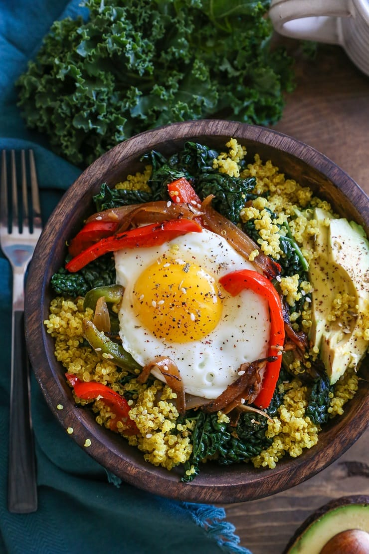 Turmeric Quinoa Breakfast Bowls With Peppers And Kale