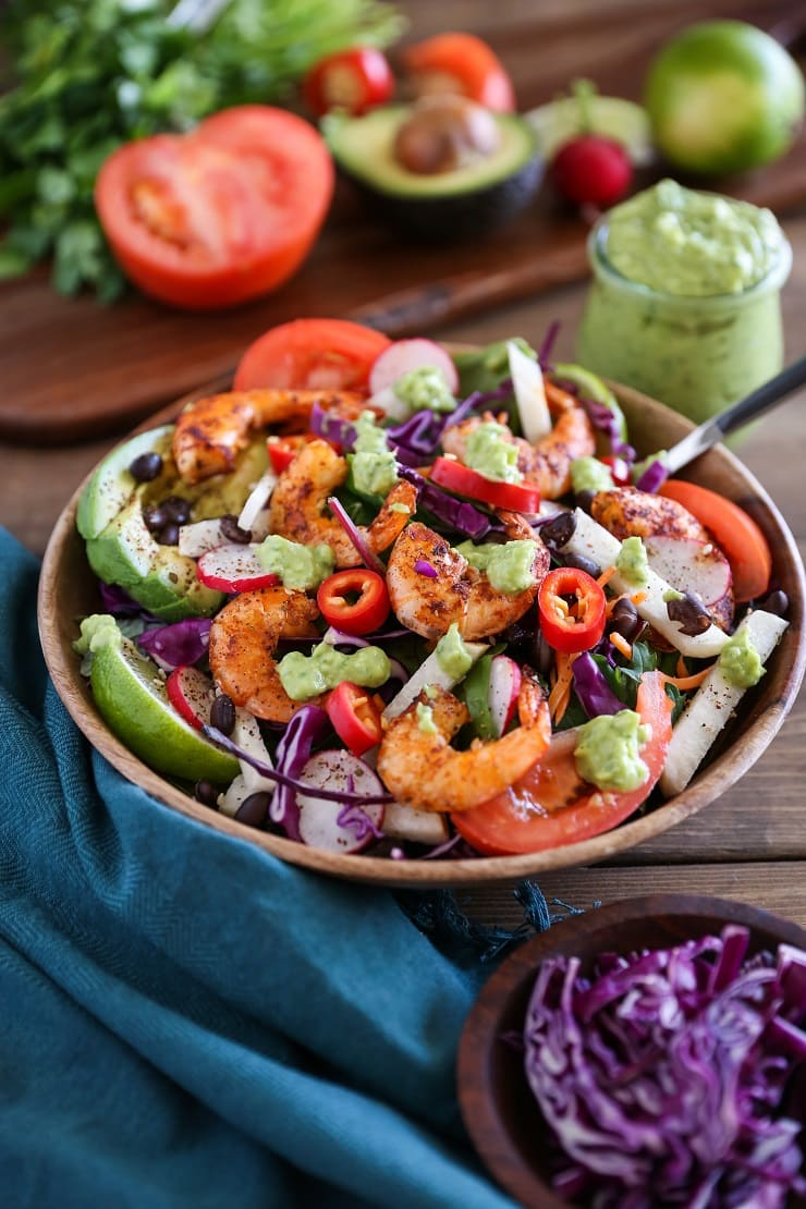 Shrimp Taco Salad with Avocado Chimichurri Dressing | TheRoastedRoot.net #healthy #dinner #paleo #recipe