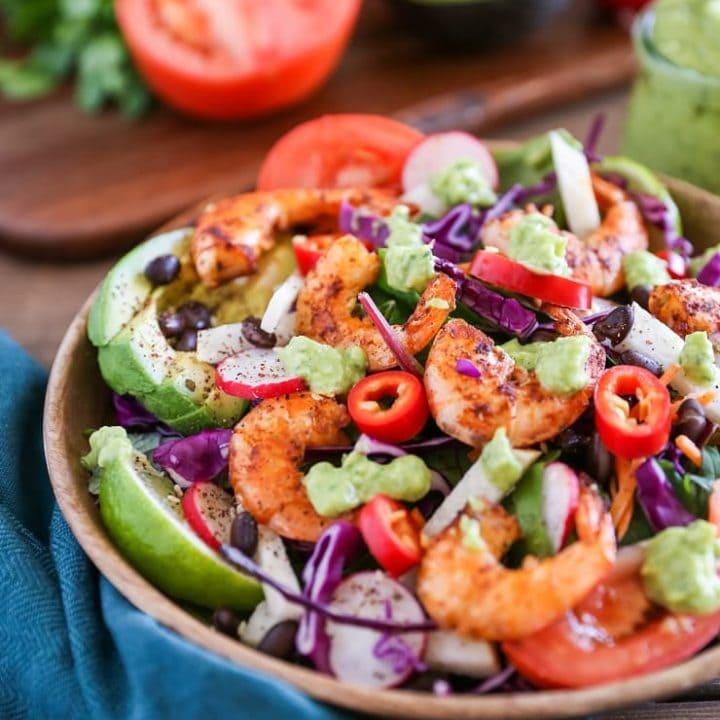 Shrimp Taco Salad with Avocado Chimichurri Dressing | TheRoastedRoot.net #healthy #dinner #paleo #recipe