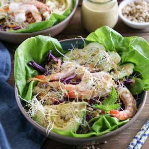 Spring Roll Bowls with Sunflower Butter Sauce | TheRoastedRoot.net #healthy #dinner #recipe #paleo