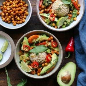 30-Minute Thai Green Curry with Avocado - a healthy vegetarian dinner recipe   TheRoastedRoot.net #glutenfree #vegan
